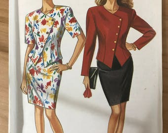 New Look 6656 - Asymmetrical Button Front Top with Pointed Weskit Hemline and Straight Knee Length Skirt - Size 8 10 12 14 16 18