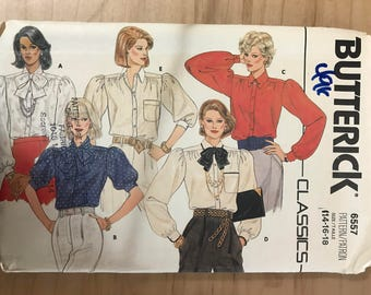Butterick 6557 - 1980s era Button Front Blouse with Gathered Cap Sleeves in Long or Short Length and Optional Bow Tie - Size 14 16 18