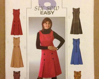 Butterick B4282 Easy Jumper Dress with Princess Seams and Inverted Pleats and Martingale or Button Detail - Size 8 10 12 14