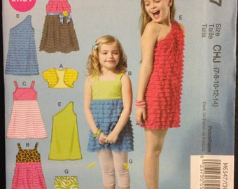 McCalls M6547 Girls Easy Summer Dress, Shrug Bolero and Leggings with Ruffle Knit Options - Size 7 8 10 12 14