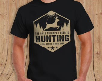 The only therapy i need is hunting and a couple of cold ones T-Shirt JEEP Shirt - t-Shirt Mens Ladies Womens
