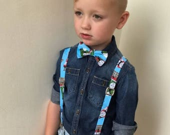 Thomas the Tank Engine Suspenders and Bow Tie Set, Adjustable Neck Strap, Clip On OR Nylon Band, Thomas The Train, Trains, Train Track, Baby