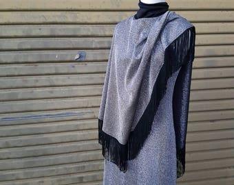 Vintage lurex singlet dress and fringe poncho 1960's/70's
