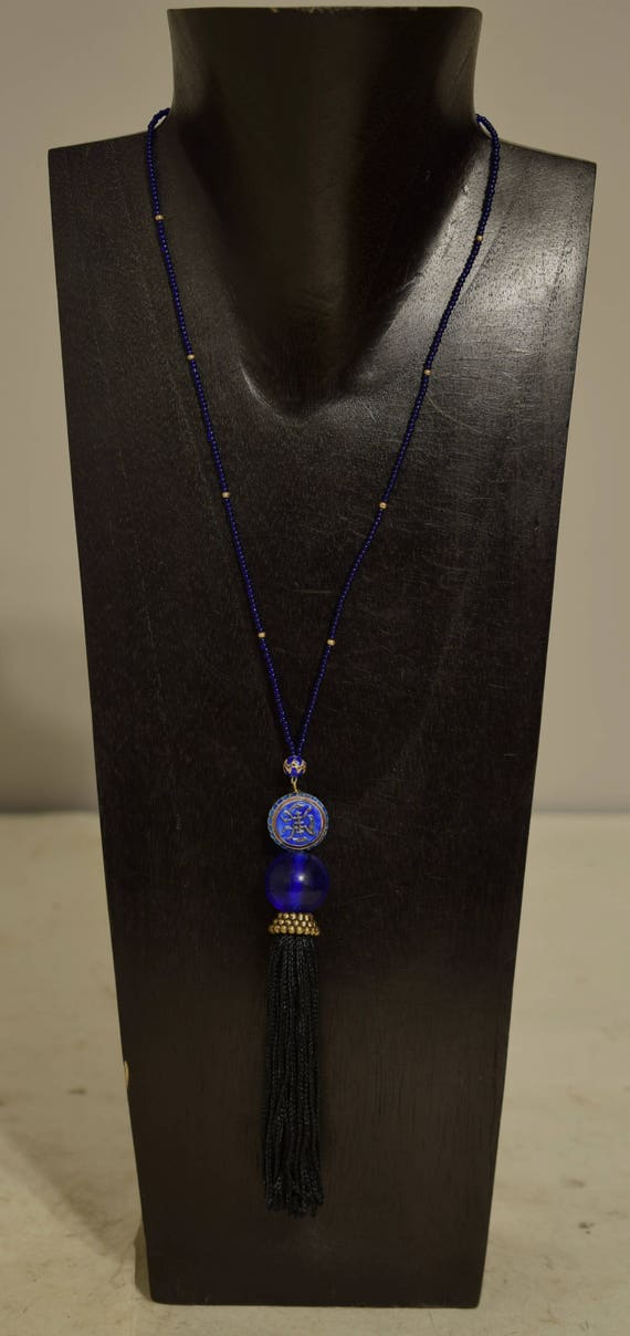 Necklace Chinese Blue Cloisonne Blue Glass Hand Beaded Tassel Necklace Jewelry
