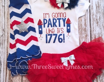4th of July Baby Girl Outfit | I'm Gonna Party Like It's 1776 | Opt Headband & Ruffle Tutu Bloomer Set | First Fourth 1st | Independence Day