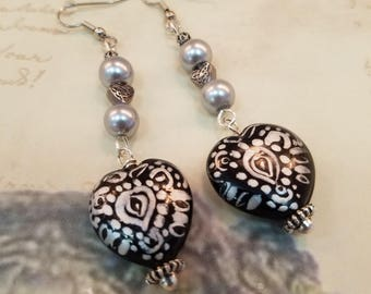 Silver and Black Hearts