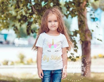 Big Sister Shirt, Girls Big Sister Unicorn Tshirt, Unicorn Tshirt, Big Sister Unicorn, Big Sister Outfit, Little Sister, Big Sister to Be