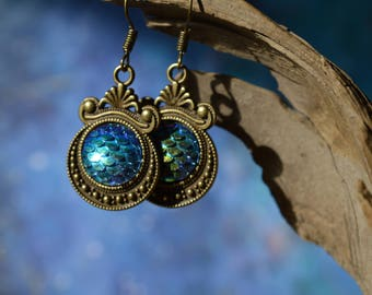 Blue Mermaid Scale Earrings - Bronze