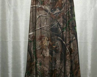 Long Camo Maxi Skirt with Fold-over Waist---Measurements Needed for proper fit