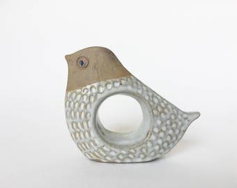 Mid Century Modern Vintage 1960's glazed stoneware cute bird