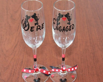 "Disney Inspired ""We're Engaged""  Champagne Glasses, Set of 2"