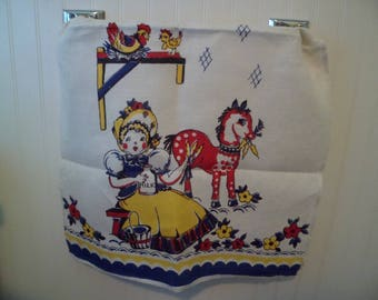 Vintage Broderie Creations Kitchen Tea Dish Towel Table Runner Farm Lady Horse Chickens Flowers