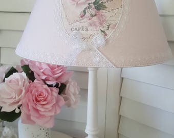 """Lampshade in pink linen Lampshade lamp shade shabby - Medallion """"old rose"""""""