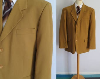 Mustard sports coat jacket blazer, single breasted, x large, 44uk 56eur