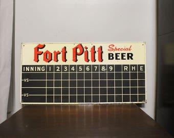 1949 Double sided Fort Pitt Beer Baseball Football Scoreboard Sign