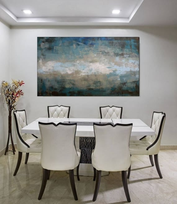 Large Art Original Abstract Painting Blue Green Neutral Wall
