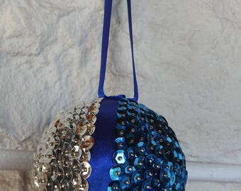 Handmade Blue And Silver Sequined Christmas Tree Bauble In Quarters - Free Shipping
