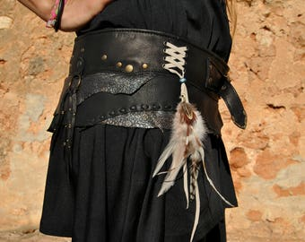 handmade leather belt in colours black and grey silver glitter, with rivets and feathers