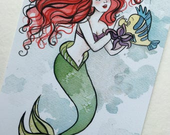 Ariel and Flounder print