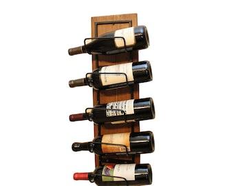rustic wine rack metal wine bottle holder 5 bottles
