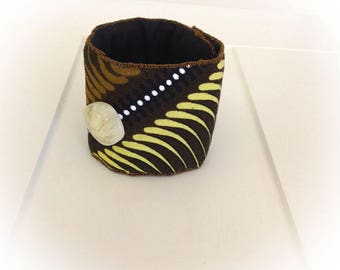 Bracelet, cuff, African fabric, Brown, caramel, anise.