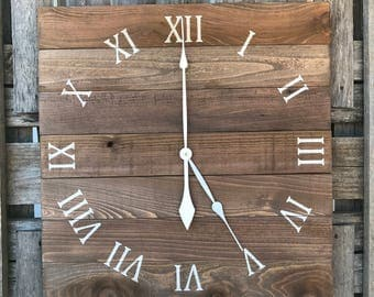 LARGE Pallet clock, Rustic Wall Clock, Primitive Wood Clock, Wood Wall Clock, Large Square Clock, Large Farmhouse Clock, Stained Wood Clock
