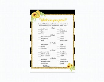 Sunflower What's in Your Purse Game, Whats in Your Purse, Black and White Striped Instant Download Printable 205