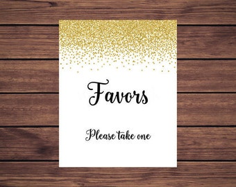 Favors Sign, Gold Favors Please take one, Baby Shower, Gold Confetti Bridal Shower Sign, Printable Instant Download 207