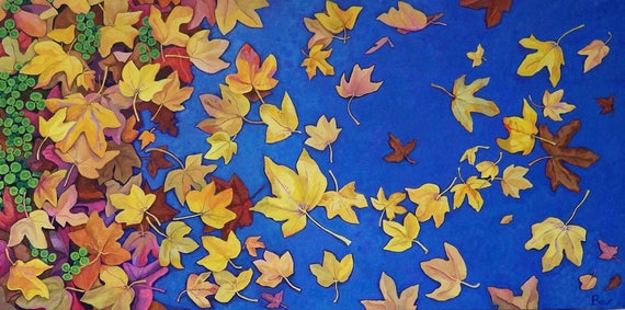 Star Strewn, Giclée  print 45X75cm, from a painting of autumn leaves in acrylic.