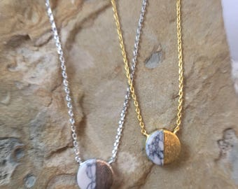 White Marble Circle Necklace