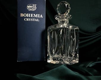 Bohemia crystal decanter in original box, Bohemia Crystal Czechoslovakia, Whiskey Decanter, Vintage Square Decanter, Whiskey collectible,