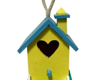 """5"""" Light Yellow Blue White Picket Fence Home Hanging Decorative Birdhouse Feeder"""