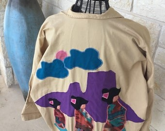 Vintage Jacket Southwest Applique' Art, Southwest Jacket 1980's, Tan Denim Jacket