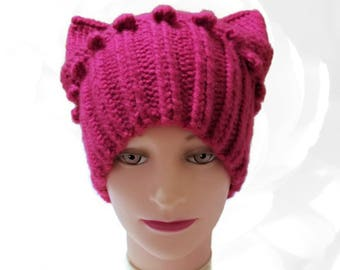 PussyHat, Pink PussyHat, Rose Hat, Pink Hat, Cat Ear Hat, Pussy Hat Project, Pussy Cat Hat, Winter Hat, Spring Hat, Summer Hat, Fall Hat