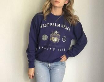 Vintage Palm Beach Florida Sailing Club Sweatshirt 90s Soft