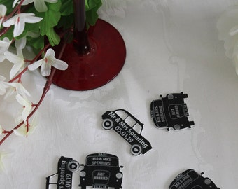 Black LONDON TAXI Hackney Cab PERSONALISED Wedding Table Confetti / Favours