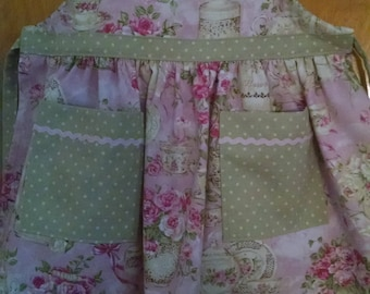 Girls Apron, Girls Tea Pot Apron, Girls Apron Toddler Apron Tea Time Apron