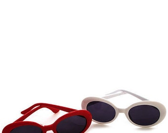 90s Plastic Rounded/Oval Sunglasses *Two Colors* ~ Ivory/White, Cherry Red (Kurt Cobain)