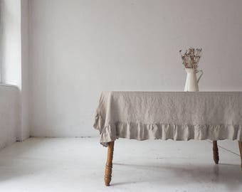 Linen ruffle TABLECLOTH. Ruffled tablecloth. Natural tablecloth with frill. Custom size.