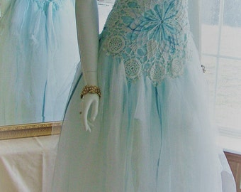 Size 2 - 7/8 Baby blue fairy ice blue frozen woodland fantasy princess romantic shabby chic ragged tattered wedding dress