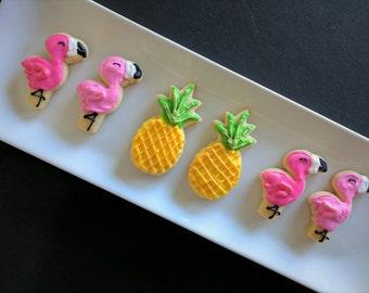 Flamingo and Pineapple Sugar cookies