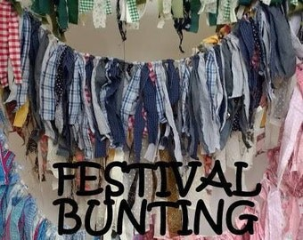 Raggy festival upcycled bunting wall hanging