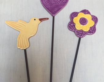 3 Garden Stakes a hummingbird, a flower and a heart will add color to your garden or potted plant great gift