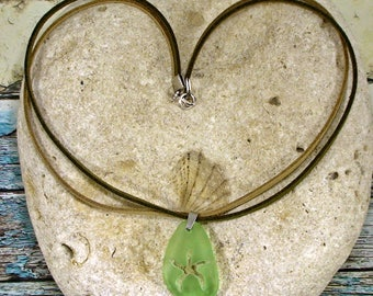 Starfish Necklace Light Green Sea Glass Jewelry Beach Jewelry Beach Wedding Leather Necklace Sea Glass Necklace Summer Jewelry