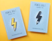 Pencil Bolt Enamel Pin, Lightning pin, pencil badge, creative gift, pencil pin, gifts for artists, pin stocking fillers, teachers pin