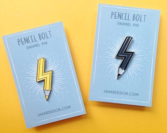 Pencil Bolt Enamel Pin, Lightning pin, pencil badge, creative gift, pencil pin, gifts for artists, pin stocking fillers, teachers pin