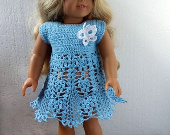 American Girl doll clothes. Baby blue dress + handmade shoes Crochet outfit for 18 inch AG dolls. Handmade OOAK clothing for American Girl