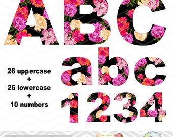Digital Flower Alphabet Clipart, Floral Alphabet Clip Art, Flower Number Clipart, Flower Letters Clip Art, Digital Floral Alpha Clipart 0136