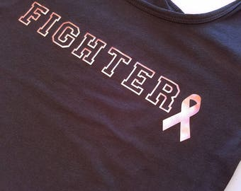 Rose Gold Fighter Racerback Tank Top, Breast Cancer Awareness Tank Top, Pink Ribbon Tank Top, Cute Workout Tank, Fight Like A Girl Tank