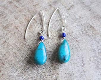 Turquoise Chrysocolla Teardrop Beach Earrings
